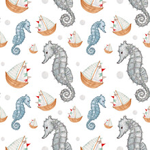 Watercolor Seamless Children's Pattern, With Seahorses And Cute Wooden Boats On A White Background