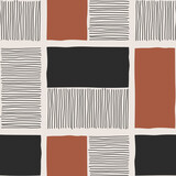 Trendy minimalist seamless pattern with abstract creative hand drawn composition - 437447197
