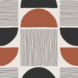 Trendy minimalist seamless pattern with abstract creative hand drawn composition - 437447515