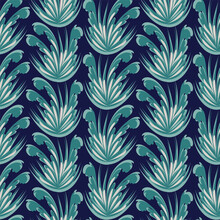 Vector Damasc Floral Ornament Seamless Pattern Background