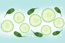 Flying Fresh Sliced Cucumber With Seeds On Green Background. Cucumber Or Vegetables In The Air