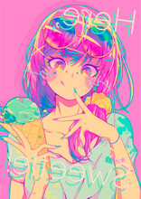 Colorful Illustration Of An Anime Girl With Ice Cream In Her Hand.