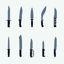 Combat Survival Military Knife And Blade Melee Weapon War Hunt Fight Collection Flat Vector