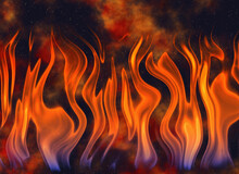 Dancing Flames On Background Of Burning Coals