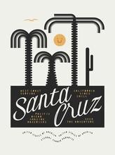 Santa Cruz Geometry Palm Tree Landscape Surfing Vintage Typography T-shirt Print.