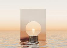 3D Background,podium Display On Water, Ocean, Sea Sunset, Pastel Orange Circle Frame. Cosmetic, Beauty Product Promotion Mockup. Nature Outdoor Step Pedestal. Summer  3D Render Illustration.