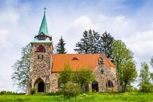 Neo Gotic Church Of The Divine Heart Of The Lord In Small Village Borovnicka In Podkrkonosi Region In Czech Republic
