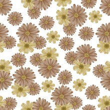 Seamless Pattern Of Yellow And Brown Flower For Textile Design, Yellow And Brown Flower Background