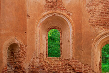 A Window With The Remains Of A Lattice In A Ruined Old Church. Inside View. Russia, Smolensk Region, 1753.
