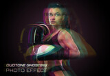 Duotone Ghosting Glith Photo Effect Mockup