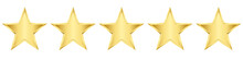 Five Vector Gold Stars. Realistic 3d Decor Element Star Rating