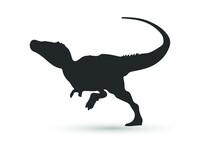Vector Tyrannosaurus Rex Silhouette. Dinosaur Isolated On White Background.