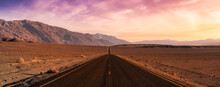 Panoramic View Of A Scenic Road In The Death Valley National Park. Colorful Sunset Sky Art Render. Taken In California, United States Of America.
