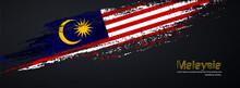 Grunge Brush Of Malaysia Flag On Shiny Black Background. Creative Glitter Sparkle Brush Paint Vector Illustration