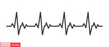 Heart Cardiogram Line Icon. Simple Outline Style. Pulse, Ecg, Ekg, Hertbeat, Electrocardiogram, Graph, Rhythm Cardioid Concept. Vector Illustration Isolated On White Background. Editable Stroke EPS 10
