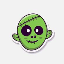 Green Zombie Head Sticker Design. Hellowen Vector Illustration Design