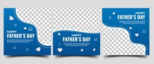 Social Media Template For Father's Day. Blue Background Color With Love Illustration.