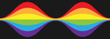 Rising And Falling Waves. Curly Line In The Colors Of The LGBT Flag For Posters, Banners And Creative Design