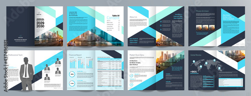 Fotografiet Corporate business presentation guide brochure template, Annual report, 16 page minimalist flat geometric business brochure design template, A4 size