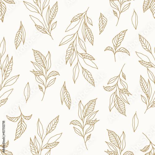 Billede på lærred Seamless cute floral vector pattern with plant and flowers