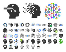 50 Intellect Icons In Flat Style. 50 Intellect Icons Is A Vector Icon Set Of Brain, AI, Logic, Memory, Analytics, Strategy Symbols. These Simple Symbols Designed For Education And Artificial