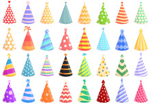 Party Hats Icon. Cartoon Of Party Hats Vector Icon For Web Design Isolated On White Background