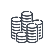 Stack Of Coins Line Icon. Pile Of Money Coin Vector Outline Sign.