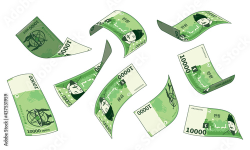 Fotografía Korean currency, different types set of falling paper money
