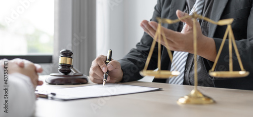 Stampa su Tela Attorney or judge provides legal advice to the client in the courtroom, Ethics in the courts include justice and impartiality, legal consultant, scales of justice, law hammer, Litigation and justice