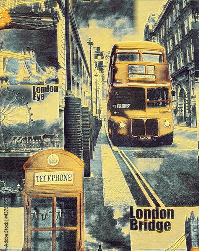 Fotografie, Tablou double-decker bus in the background of london street