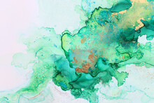 Art Photography Of Abstract Fluid Painting With Alcohol Ink, Green Colors