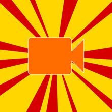 Video Camera Symbol On A Background Of Red Flash Explosion Radial Lines. The Large Orange Symbol Is Located In The Center Of The Sun, Symbolizing The Sunrise. Vector Illustration On Yellow Background