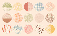 Vector Colorful Circle Textures Made With Ink, Pencil, Brush. Geometric Doodle Shapes Of Spots, Dots, Strokes, Stripes, Lines. Set Of Hand Drawn Patterns. Template For Social Media Or Posters