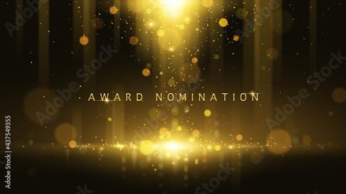 Fotografie, Obraz Award nomination ceremony luxury background with golden glitter sparkles and bokeh