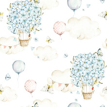 Watercolor Nursery Seamless Pattern Hand Painted Cute Butterfly, Floral Hot Air Balloons, Blue Flowers. Isolated On White Background. Illustration For Design, Print, Wallpaper