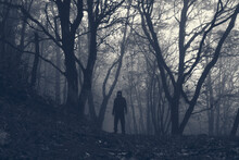 A Hooded Scary Figure With Glowing Eyes. Standing In A Spooky Winter Forest On A Foggy Day. With A Monochrome Edit
