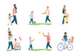Set of happy young dad with children. Happiness of fatherhood, father's day, happy childhood. Dad and the child play ball, go to the store, walk and ride a bike. Vector illustrations.