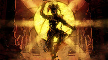 An Acrobat With A Dangerous Hoop Hung With Sharp Blades In An Indian-style Cyber Suit Stands In The Middle Of An Abandoned Ancient Temple, Behind Him A Bright Golden Sun 2d Illustration