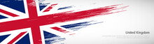 Abstract Happy National Day Of United Kingdom With Creative Watercolor National Brush Flag Background