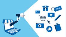 オンラインショップ、広告のコンセプトイラスト、ベクター