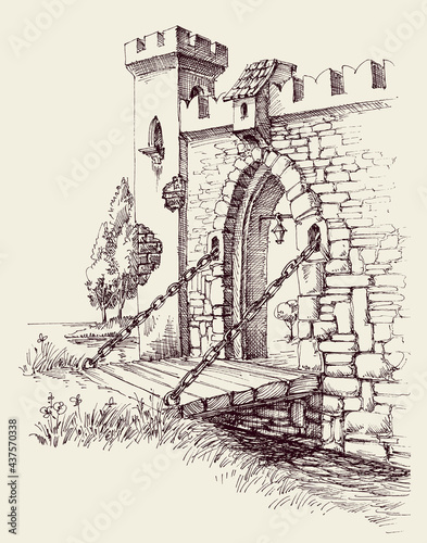 Foto Old city citadel stone gate, wooden bridge over river artistic hand drawing