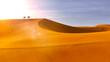 Leinwandbild Motiv Dromedaries on the dunes at sunset in a desert. Silhouette. Desert sun and sand, arid and sandy landscape. Climate change. 3d render