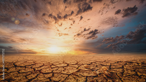 Fotografie, Obraz The picture shows the effect of drought, cracked soil, no seasonal rain