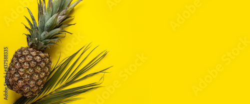 fresh ripe whole yellow pineapple and lsit palms on a yellow background. Top view, flat lay. Banner
