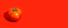 One Ripe Red Tomato On A Red Background. Top View, Flat Lay. Banner