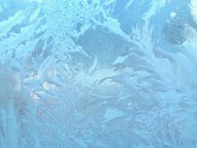 Frosty Patterns On Windows In Winter.