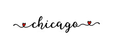 Hand Drawn Chicago Word As Banner Or Logo. Lettering For Postcard, Invitation, Poster, Icon, Label.