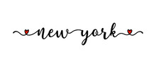 Hand Drawn New York As Banner Or Logo. Lettering For Postcard, Invitation, Poster, Icon, Label.