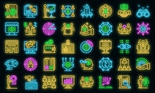 Account Manager Icons Set. Outline Set Of Account Manager Vector Icons Neon Color On Black