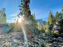 Rainbow Over The Yosemite Mountain